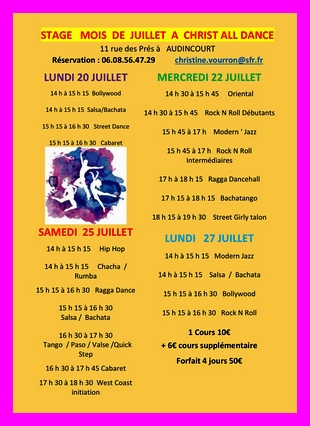 STAGES EN JUILLET A CHRIST ALL DANCE
