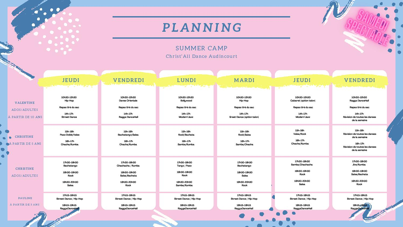 Planning du Summer Dance Camp chez Christ all Dance àAudincourt-